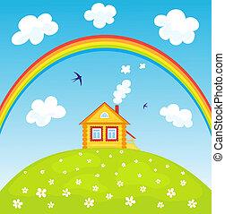 maison, rainbow.