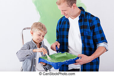 maison, redecorating, père, fils