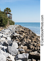 maison, rocher, seawall, côtier, pont