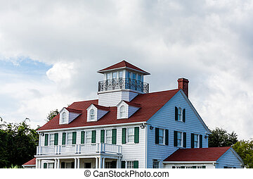 maison, rouges, côtier, toit, classique