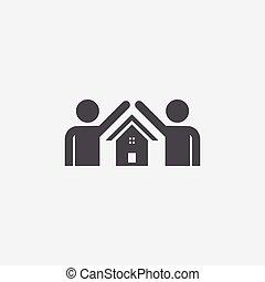 maison, sûr, icône, personne