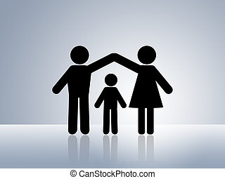 maison, sûr, protection, enfant