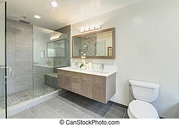 maison, salle bains, luxe, toilette