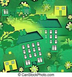 maison, seamless, fond, dessin animé