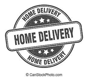 maison, signe, livraison, grunge, label., rond, stamp.