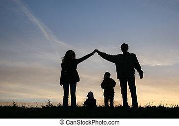 maison, silhouette, famille