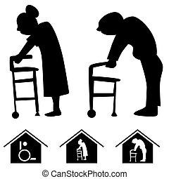 maison, soins, icônes