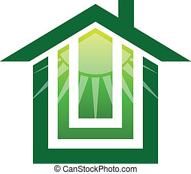 maison, solaire, logo