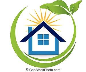 maison, soleil, propriété, logo, agent, vrai