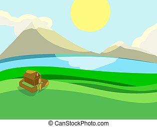 maison, solitaire, champs, paysage, vecteur