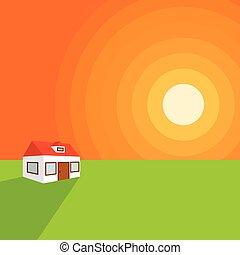 maison, solitaire, coucher soleil