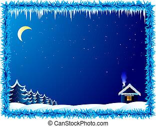 maison, solitaire, glacial, nuit