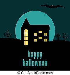 maison, solitaire, halloween, heureux