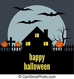 maison, solitaire, halloween