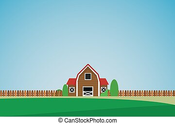 maison, solitaire, paysage vert, arbres