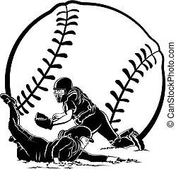 maison, sous, coureur, étiquette, glissement, softball