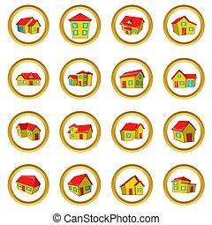 maison, style, dessin animé, ensemble, ville, petite maison