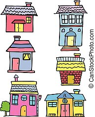 maison, style, ensemble, dessin animé, griffonnage