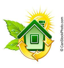 maison, symbole, énergie, écologique, solaire