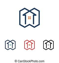 maison, symbole, ligne, propriété, vrai, moderne, simple