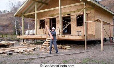 maison, torsions, espièglement, site, 60, tuyau, lent, sous, jongler, 4k, ouvrier, eau, construction, fond, pays, constructeur, contre, mouvement, porte, fps., pipe., construction.