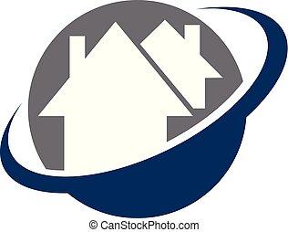 maison, vecteur, conception, gabarit, swoosh, logo