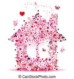 maison, vecteur, conception, illustration, floral, ton