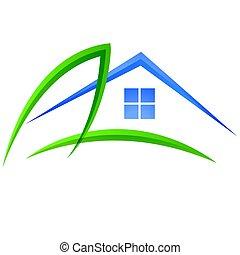 maison, vecteur, feuille, logo