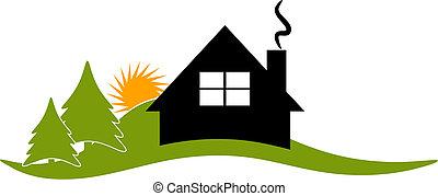 maison, vecteur, loge, logo, cabine, icône