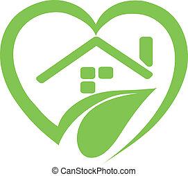 maison, vecteur, -, logo