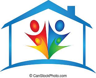 maison, vecteur, nouvelle famille, logo