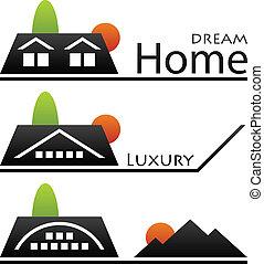 maison, vecteur, toit, pictograms
