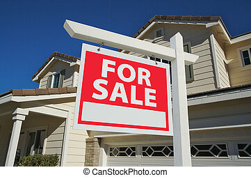 &, maison, vendu, signe vente, maison, nouveau