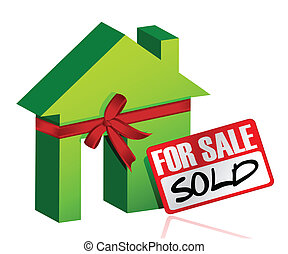 maison, vendu, signe vente, miniature, ou