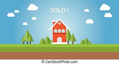 maison, vendu, sommet, texte
