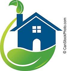 maison, vert, pousse feuilles, logo