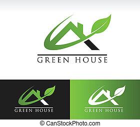 maison, vert, toit, icône