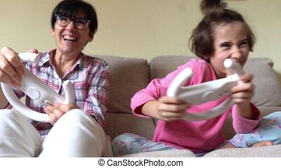 maison, videogames, jeu mère, fille, voiture