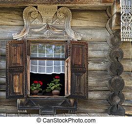 maison, vieux, campagne, bois, fenêtre