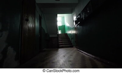 maison, vieux, escalier