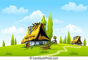 maison, vieux, paysage, village