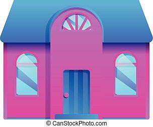 maison, ville, dessin animé, icône, style