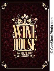 maison, violet, vin, menu, cadre, vendange