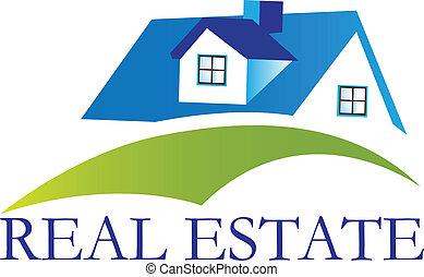 maison, vrai, logo, vecteur, propriété