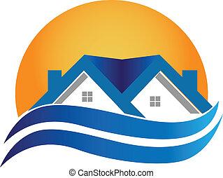 maison, vrai, -, logo, vecteur, propriété