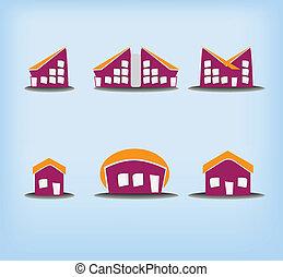 maisons, 6, ensemble, variations, icônes