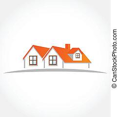 maisons, appartements, logo, vecteur