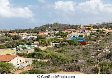 maisons, aruba, haut, coloré, colline