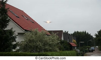 maisons, avion, voler plus, profond