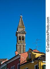 maisons, burano, vieux, coloré, sur, église, tour